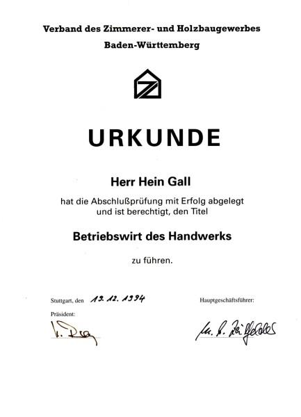 13.12.1994 – Urkunde Betriebswirt des Handwerks