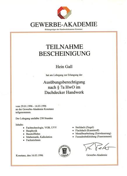 16.03.1996 – Teilnahme Lehrgang Ausübungsberechtigung