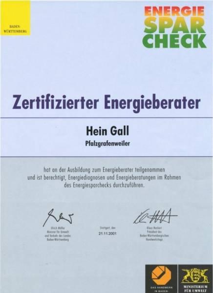 21.11.2001 – Zertifizierter Energieberater Hein Gall
