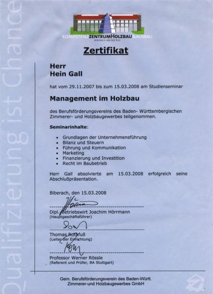 15.03.2008 – Zertifikat Management im Holzbau