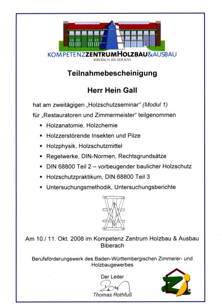 10.10.2008 – Teilnahme Holzschutzseminar