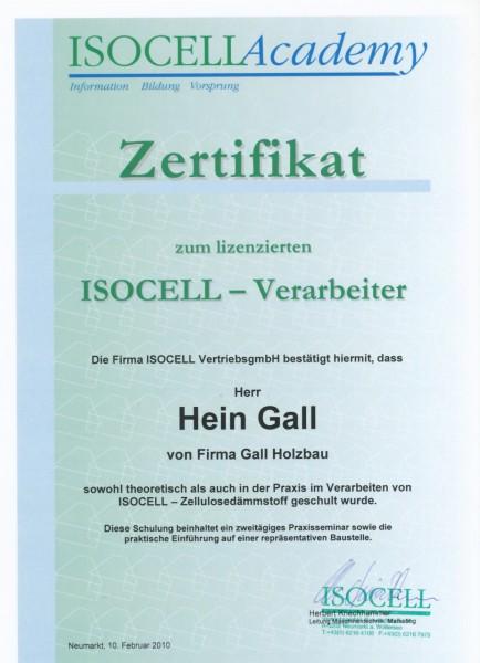 10.02.2010 – Zertifikat Isocell Verarbeiter