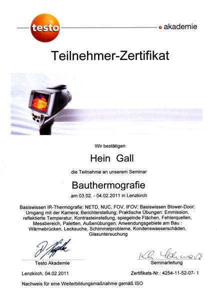 04.02.2011 – Teilnahmezertifikat Seminar Bauthermografie