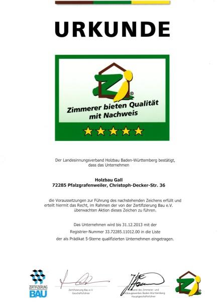 31.12.2013 – Urkunde 5 Sterne Landesinnungsverband